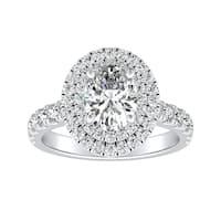 Auriya Platinum GIA Certified 1 3/4ct TDW Oval Double Halo Diamond Engagement Ring