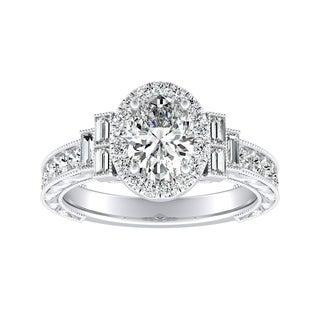 Auriya Platinum 2ct TDW Oval Diamond Vintage Halo Engagement Ring - White G-H