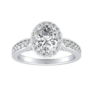 Auriya Platinum 1 1/2ct TDW Oval-cut Diamond Halo Engagement Ring - White G-H
