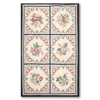 Aubusson Wool Floral Needlepoint Medallion Handwoven Area Rug (3' x 5') - multi