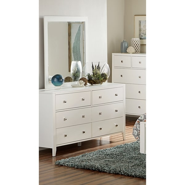 shop hillsdale pulse 6 drawer dresser and mirror white on sale free shipping today. Black Bedroom Furniture Sets. Home Design Ideas