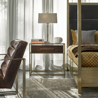 Modern Bancroft Mahogany and Brushed Brass 1-drawer Nightstand