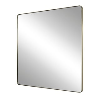 Modern Brushed Brass Square Accent Mirror