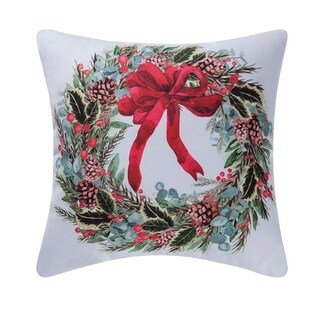 Holly Berry Wreath Indoor / Outdoor 18 Inch Throw Pillow