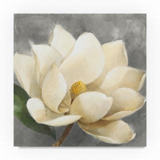 Albena Hristova 'Magnolia Blossom on Gray' Canvas Art