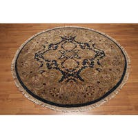 Botanical Hand-knotted Wool Round Persian Oriental Area Rug - 6' x 6'