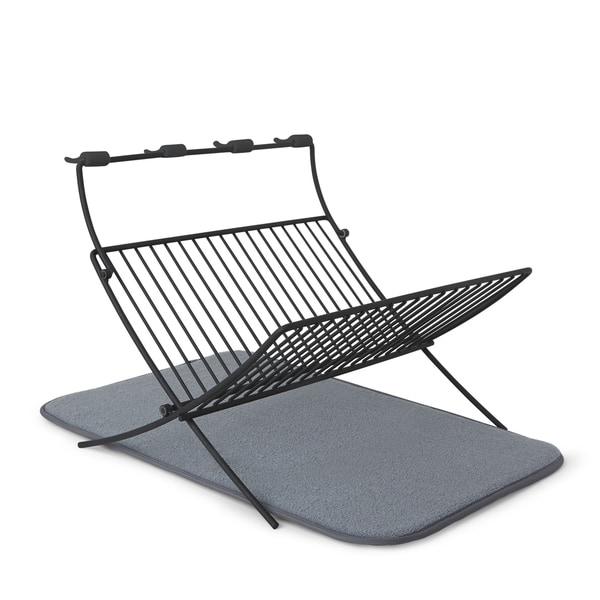 Umbra XDRY Folding Dish Rack with Absorbent Microfiber Drying Mat - gray