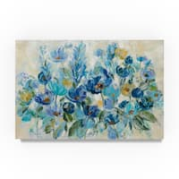 Silvia Vassileva 'Scattered Blue Flowers' Canvas Art