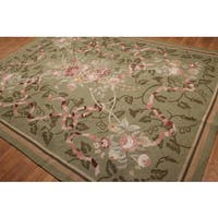Grey/Green/Pink Floral Hand-hooked Oriental Area Rug (8' x 11')