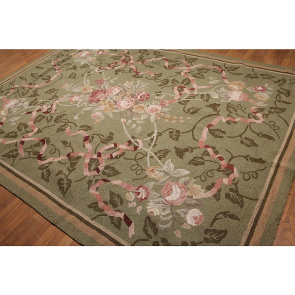 Grey/Green/Pink Floral Hand-hooked Oriental Area Rug (8' x 11') - multi