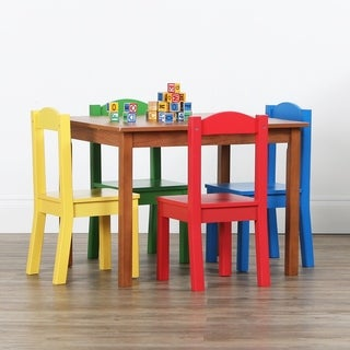 Highlight Collection Kids Wood Table & 4 Chairs Set, Dark Pine/Primary - Multi