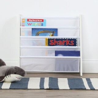 Cambridge Collection Book Rack Storage Bookshelf, White on White