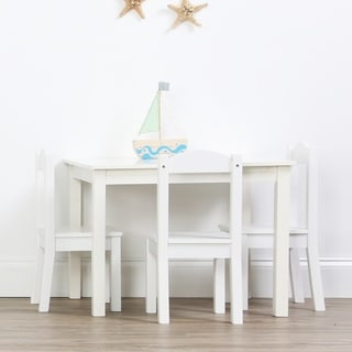 Cambridge Collection Kids Wood Table and 4 Chairs Set, White on White