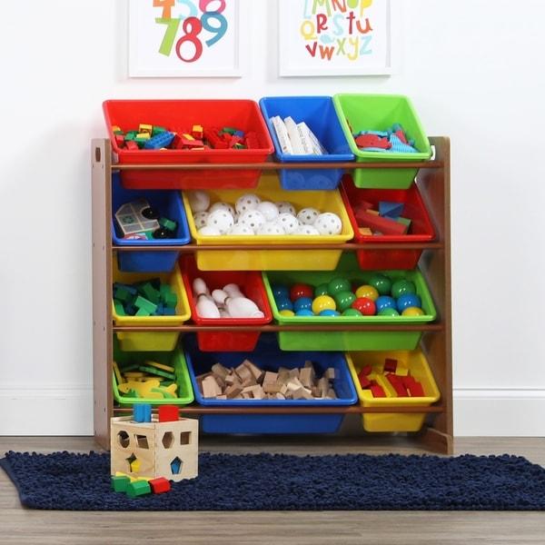 Highlight Toy Storage Organizer W 12 Plastic Bins Dark Pine Primary
