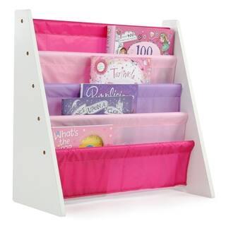 Friends Kids Book Rack Storage Bookshelf, White & Pink/Purple