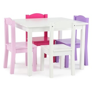 Friends Collection Kids Wood Table & 4 Chairs Set, White/Pink/Purple - Multi