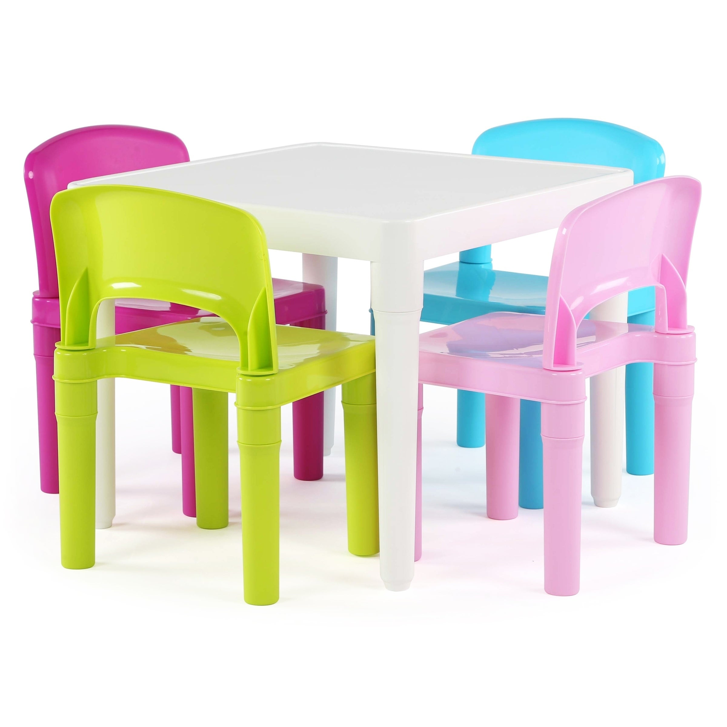 Playtime Collection Kids Plastic Table & 4 Chairs, White/...