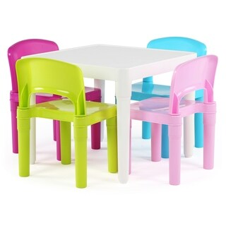 Playtime Collection Kids Plastic Table & 4 Chairs, White/Bright Colors - White