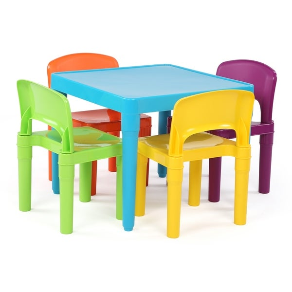 Playtime Collection Kids Plastic Table And 4 Chairs, Aqua U0026amp; Primary    Multi