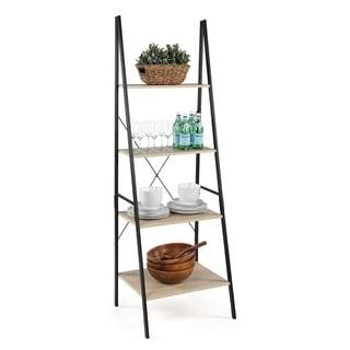 Good Jupiter Industrial Style 4 Tier Storage Ladder, Black & Grey