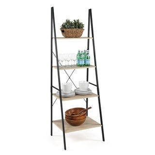 Good Jupiter Industrial Style 4 Tier Storage Ladder, Black & Grey
