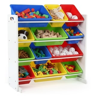 Summit Kids Toy Storage Organizer W/ 12 Plastic Bins, White/Primary
