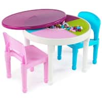 Kids 2-in-1 Plastic Activity Table & 2 Chairs Set, White/Bright Colors - Multi
