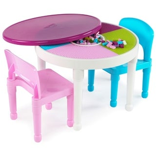 Kids 2 In 1 Plastic Activity Table U0026 2 Chairs Set, White/