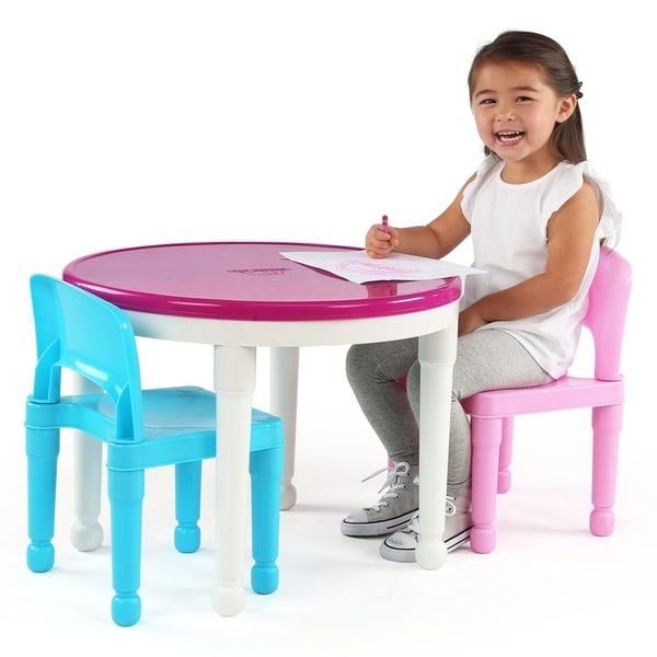 Tot Tutors Kids 2-in-1 Plastic Building Blocks-Compatible Activity Table and 2 C
