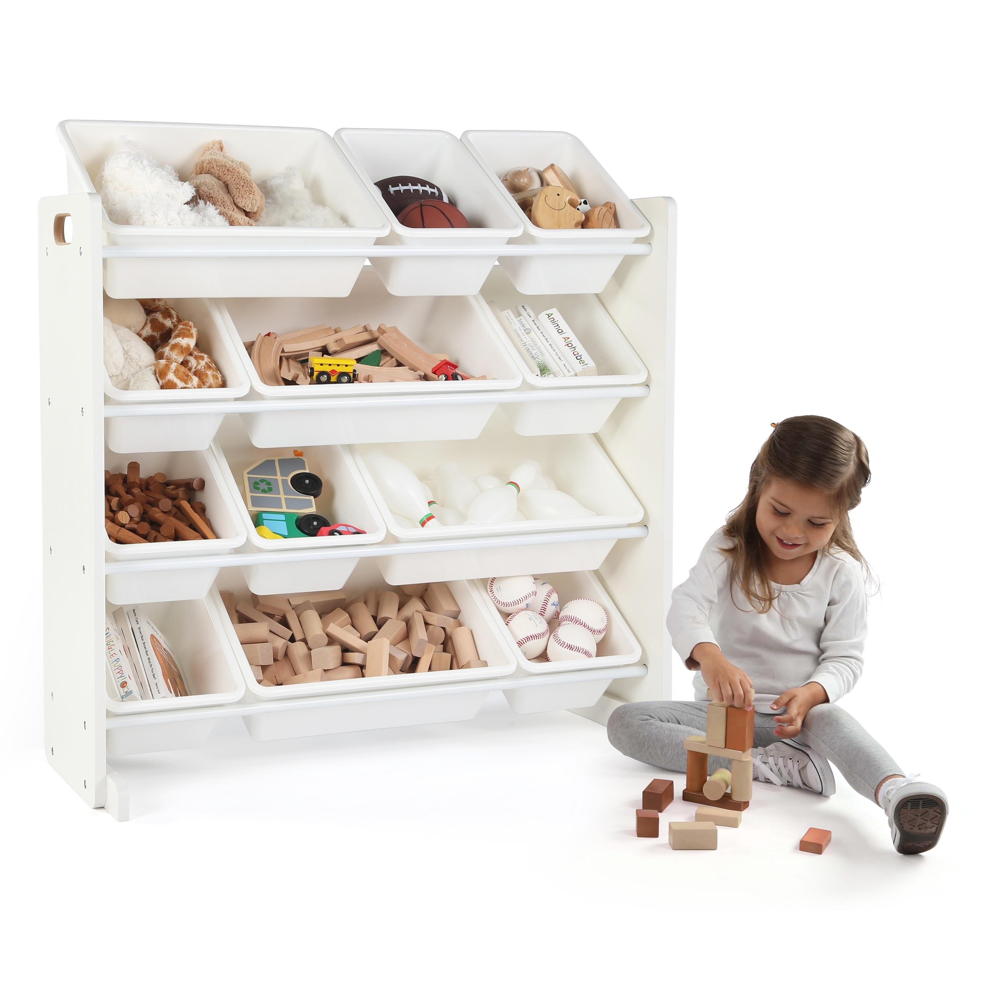 cambridge kids toy storage organizer w 12 plastic bins. Black Bedroom Furniture Sets. Home Design Ideas