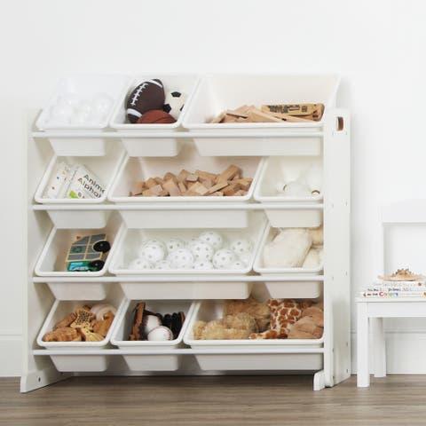 Cambridge Kids Toy Storage Organizer w/ 12 Plastic Bins, White/White