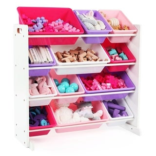 Friends Toy Storage Organizer w/ 12 Plastic Bins, White & Pink/Purple