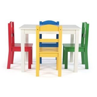 Summit Collection Kids Wood Table and 4 Chairs Set, White & Primary - Multi