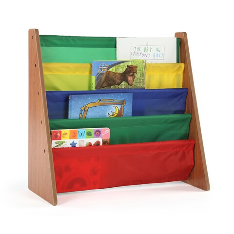 Highlight Kids Book Rack Storage Bookshelf, Dark Pine & Primary