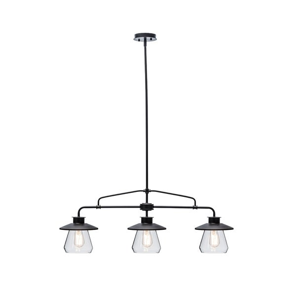 3-Light Vintage Pendant, Oil Rubbed Bronze Finish, Clear Glass Shades