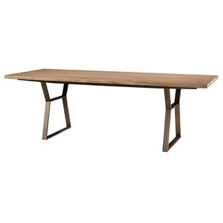 Curated Ainsley Mango Pango Finish Wood Brushed Bronze Frame 92-inch Dining Table