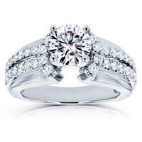 Annello by Kobelli 14k White Gold 1 1/2ct TGW Moissanite (DEF) and Diamond Split Shank Engagement Ring