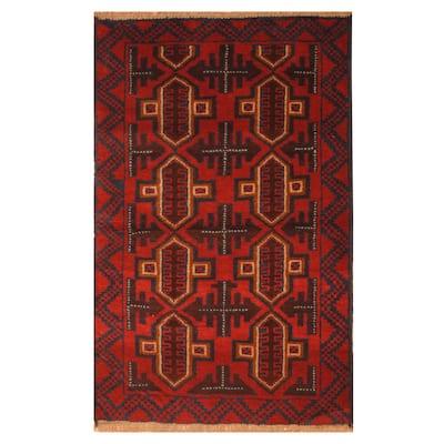 Handmade One-of-a-Kind Balouchi Wool Rug (Afghanistan) - 2'10 x 4'5