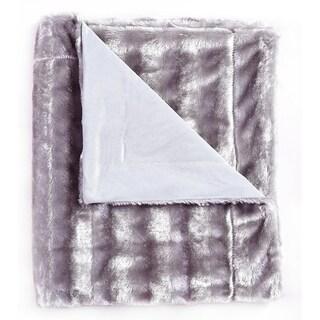 De Moocci Plush Stripped Reversible Faux Fur Throw - 50 in x 60 in