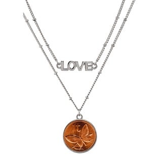 Butterfly Coin Double Strand Love Necklace - Silver