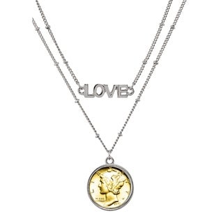 Silver Mercury Dime Layered with Gold Coin Double Strand Love Necklace