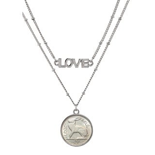 Irish Three Pence Hare Coin Double Strand Love Necklace - Silver