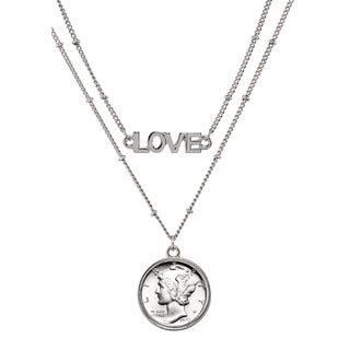 Silver Mercury Dime Coin Double Strand Love Necklace