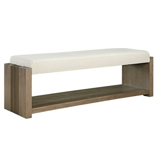 Universal Furniture Synchronicity Wood/Off-white Fabric Horizon Bed End Bench
