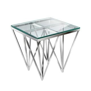 Zest Gold/Silver Metal and Glass End Table