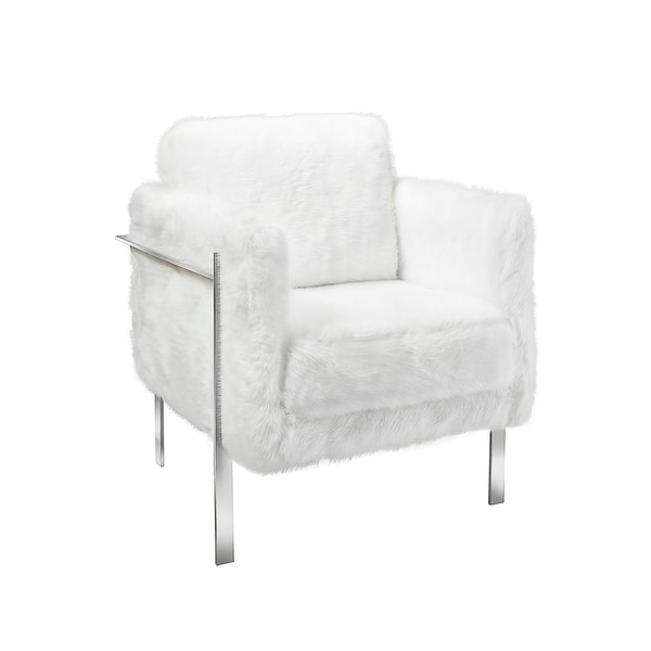 Herbert White Faux Fure Metal Accent Chair