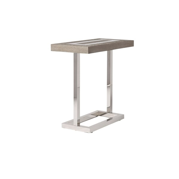 Modern Flint And Stainless Steel Rectangle Wyatt Chair Side Table