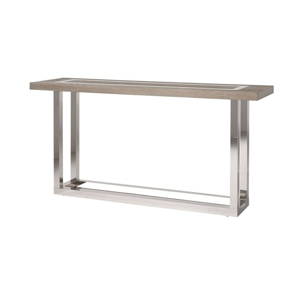 Modern Flint And Stainless Steel Rectangle Wyatt Console Table