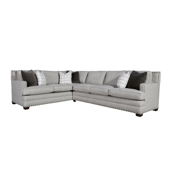 Shop Curated Grey Nailhead Right Arm Sectional Sofa Free