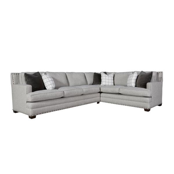 Curated Grey Nailhead Riley Left Arm Sectional Sofa